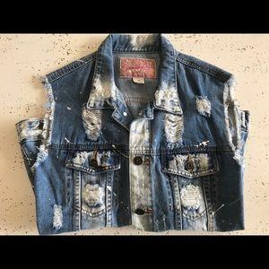 Other - Distressed jean vest